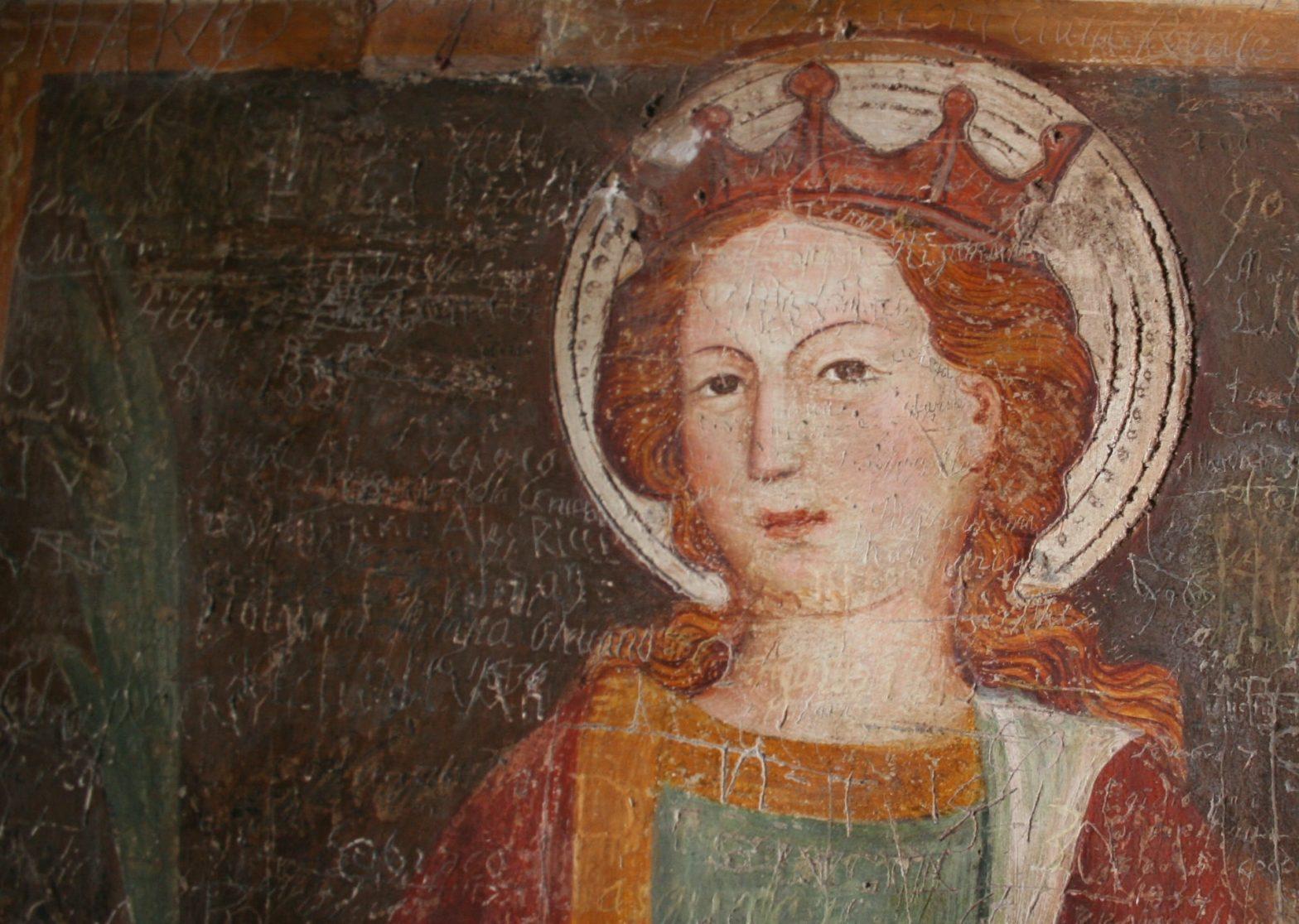 Dipinto medievale di donna con aureola e corona
