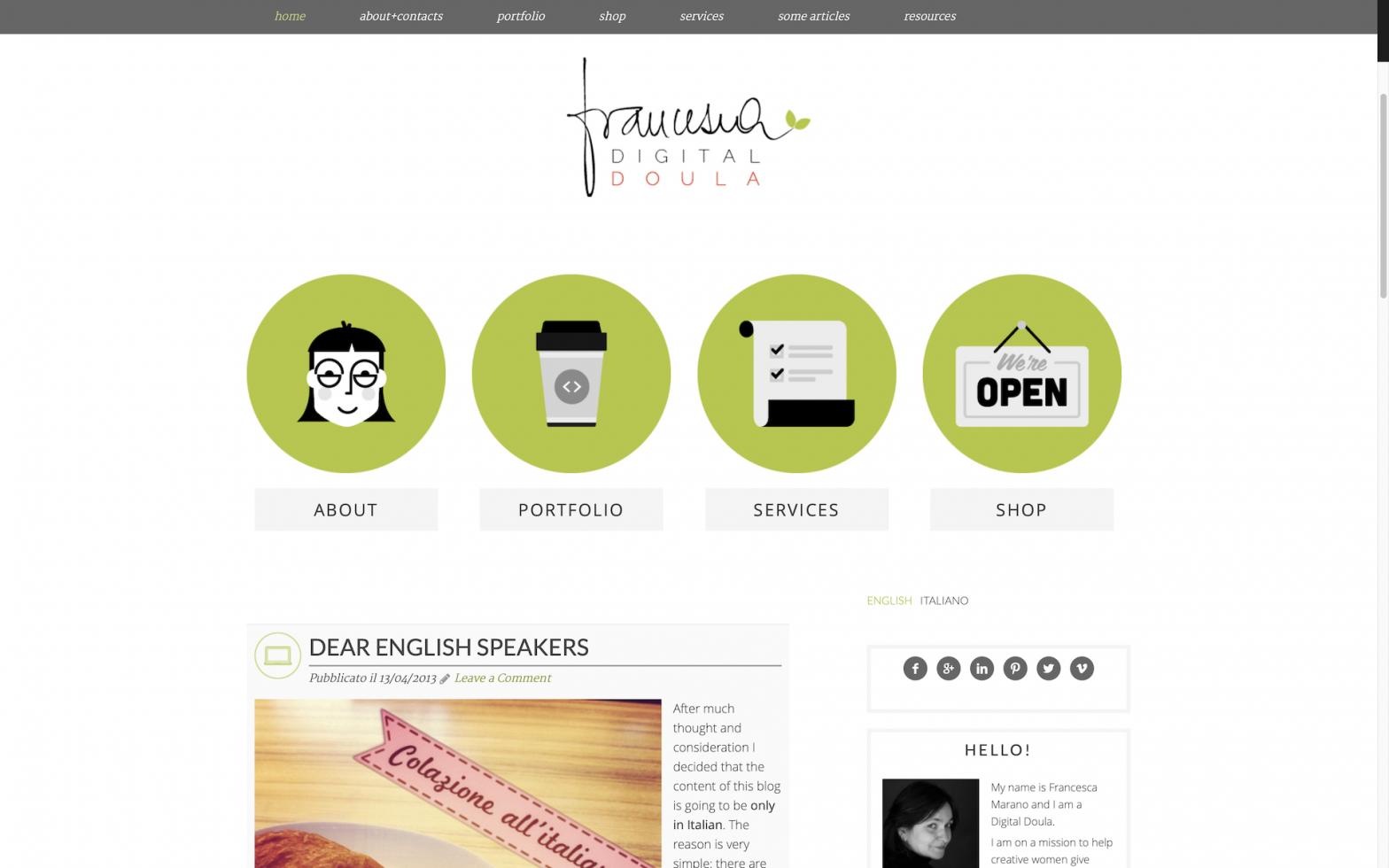 Screenshot di questo sito nel 2013
