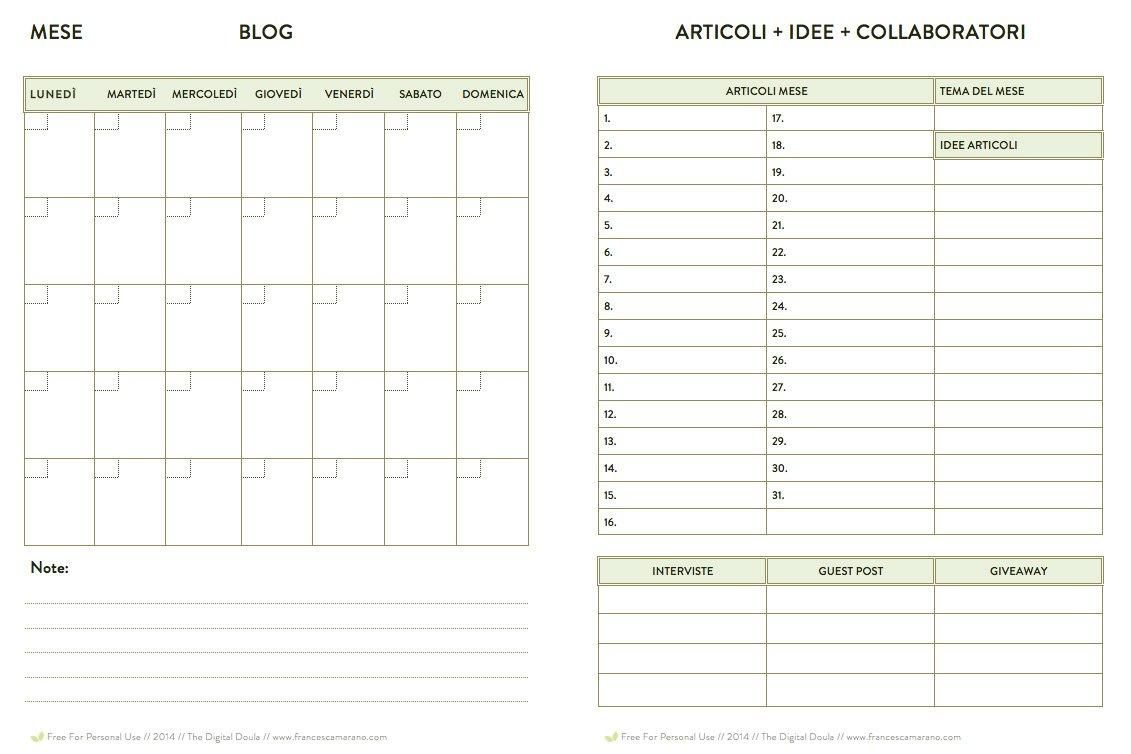 Calendario Editoriale Base