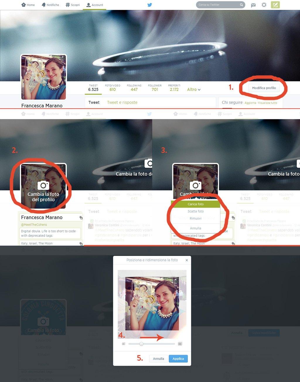 Cambiare foto profilo