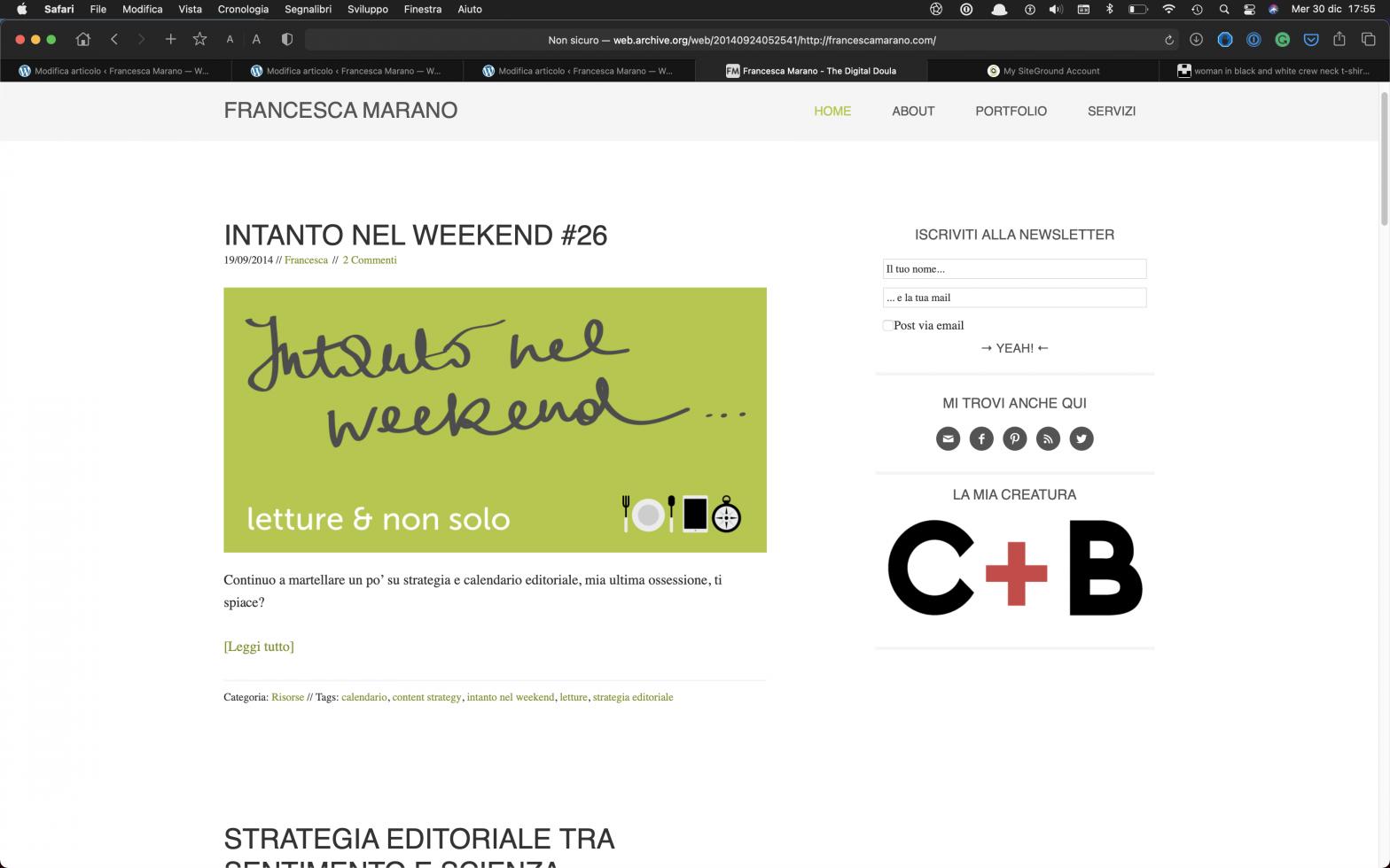 Screenshot di questo sito nel 2014