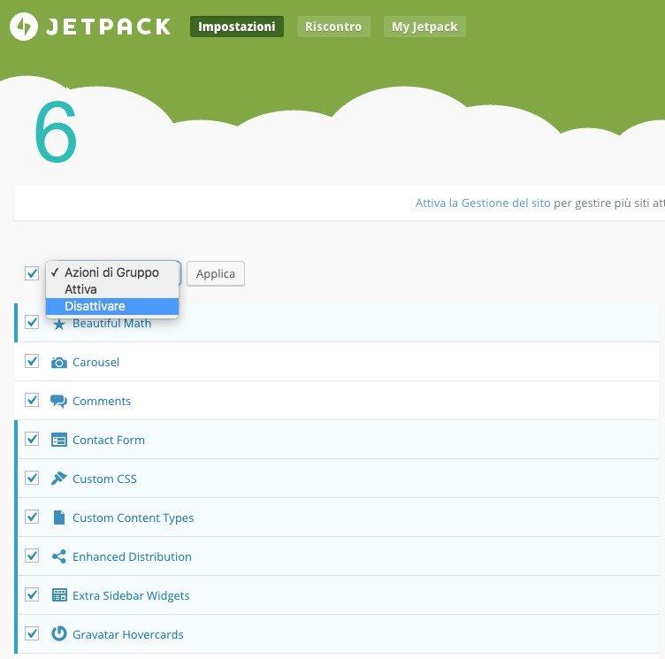 Selezionare moduli Jetpack e disattivare
