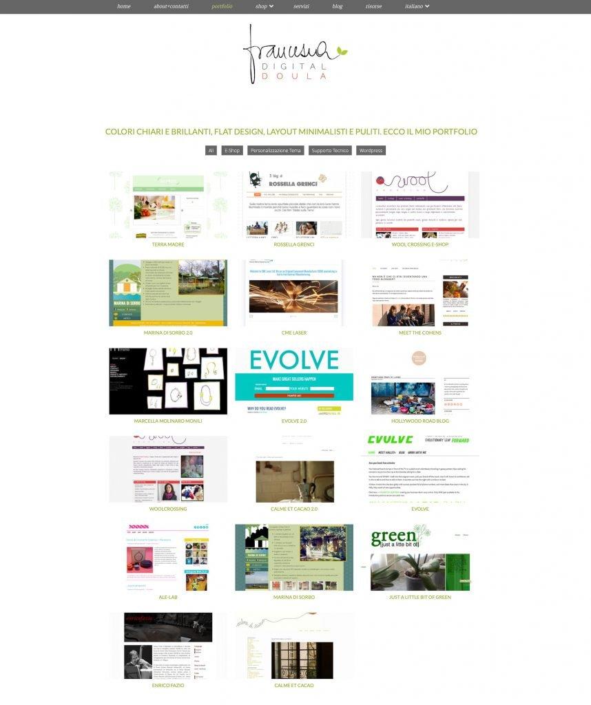 Screenshot del portfolio del sito francescamarano.com nel 2013